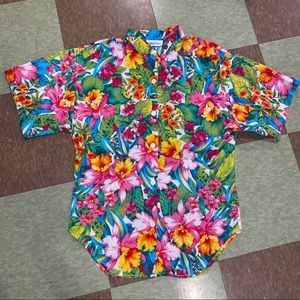 Vtg UO floral button up shirt sleeve boxy md